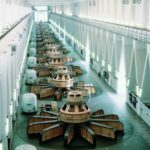 Machine hall of the Bratsk hydroelectric power station